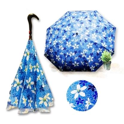 圖片 好雅也欣-雙層傘布散熱專利反向傘-浪漫台三線-客家桐花系列(藍花)