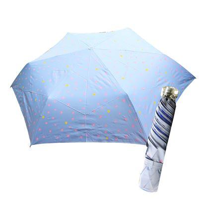 圖片 舒亦媚-抗UV防曬三折晴雨傘(閃亮星星-藍底粉星)