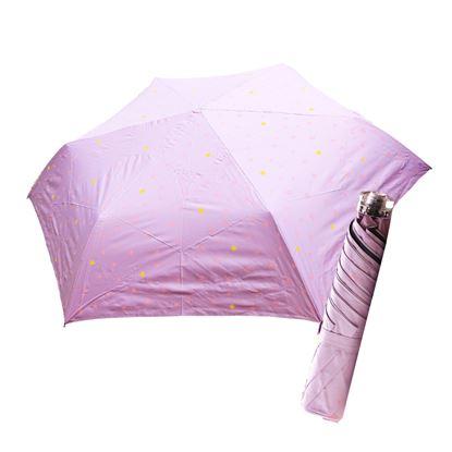 圖片 舒亦媚-抗UV防曬三折晴雨傘(閃亮星星-紫底粉星)
