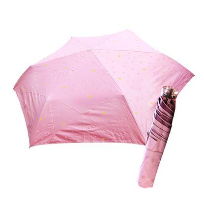 圖片 舒亦媚-抗UV防曬三折晴雨傘(閃亮星星-粉底粉星)