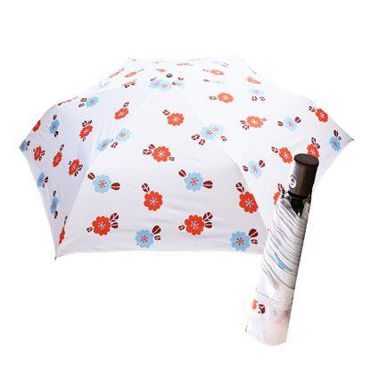 圖片 舒亦媚-抗UV防曬自動三折晴雨傘(清新小花-白底大紅花)