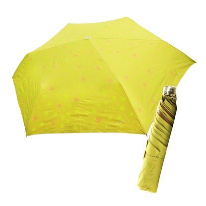 圖片 舒亦媚-抗UV防曬三折晴雨傘(甜心-綠底桔心)