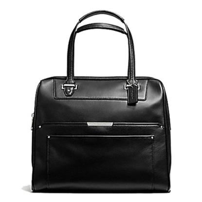 圖片 COACH  全皮前雙夾層袋肩背高版波士頓包-黑色 (現貨+預購)