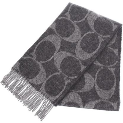 圖片 COACH 大C LOGO羊毛混兔毛絲絨保暖長圍巾-黑 (現貨+預購)
