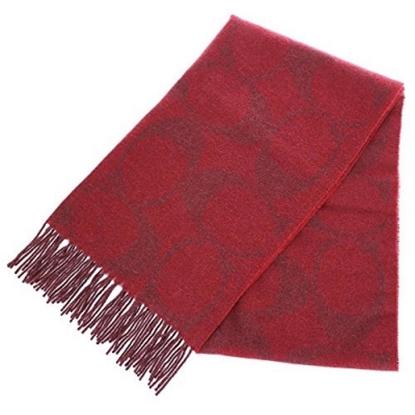 圖片 COACH 大C LOGO羊毛混兔毛絲絨保暖長圍巾-紅 (現貨+預購)