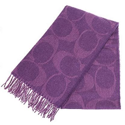 圖片 COACH 大C LOGO羊毛混兔毛絲絨保暖長圍巾-紫 (現貨+預購)