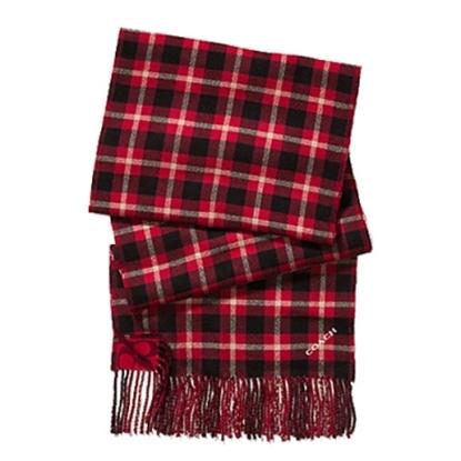 圖片 COACH 保暖羊毛流蘇格紋圍巾-紅色 (現貨+預購)