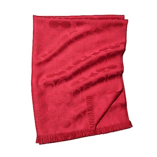 圖片 COACH 經典C LOGO羊毛混絲保暖圍巾-紅色  (現貨+預購)