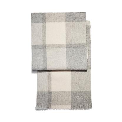 圖片 COACH 大格子羊毛圍巾-灰色 (現貨+預購)