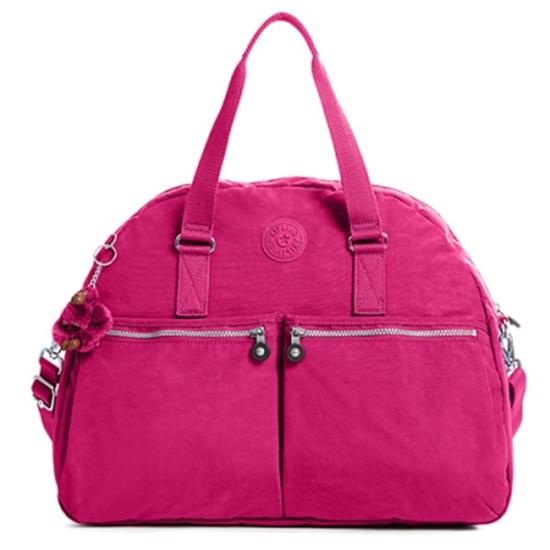 圖片 KIPLING 雙口袋造型肩背兩用旅行袋-桃紅 (現貨+預購)