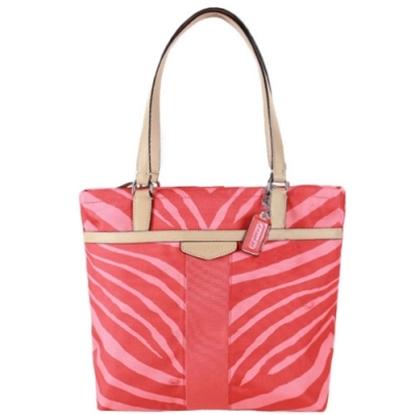 COACH 帆布漆皮飾邊托特包-桔色斑馬紋(現貨+預購)
