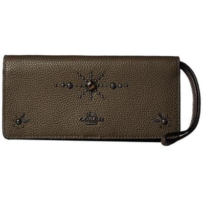 圖片 COACH 鉚釘皮革手拿扣式長夾-古銅色(現貨+預購)
