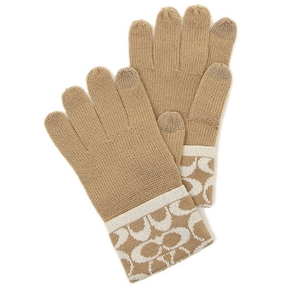 COACH 保暖針織手套-卡其(現貨+預購)