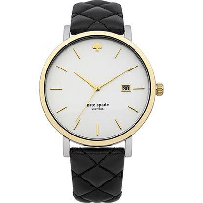 圖片 KATE SPADE 經典愛心皮革菱格紋手錶-黑 1YRU0125(現貨+預購)