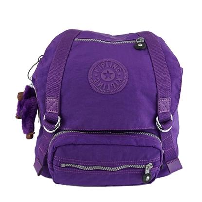 圖片 KIPLING 掀蓋束口防水尼龍後背包-紫色(現貨+預購)