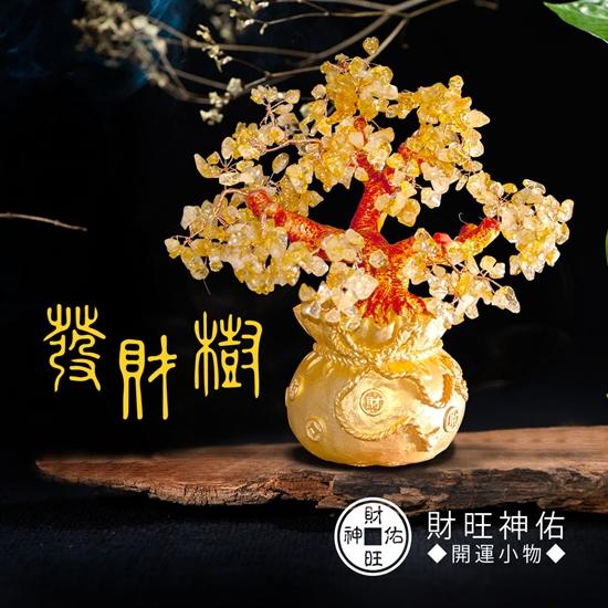 圖片 財旺神佑 招財黃水晶開運發財樹聚寶盆-高16cm【凱騰】