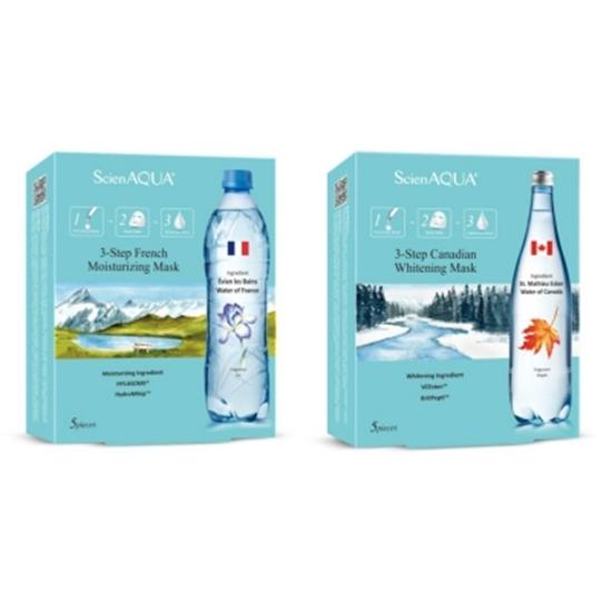圖片 【ScienAQUA科水】法國保濕+加拿大美白 三部曲面膜各1盒(每盒5片)