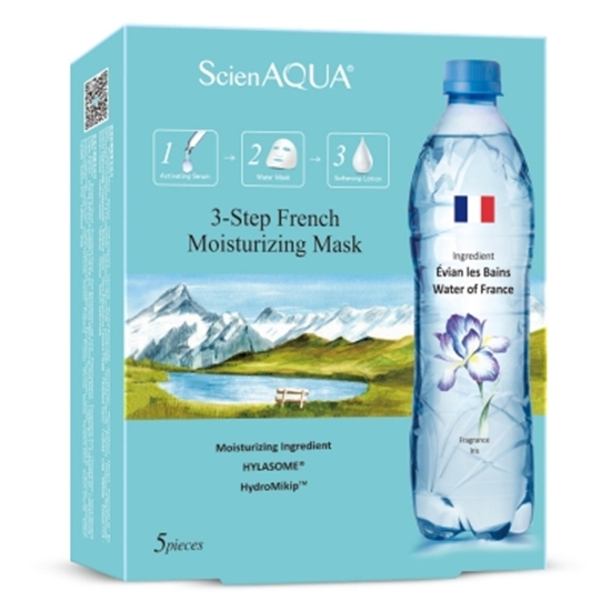 圖片 【母親節2盒特價再送2片】ScienAQUA科水 法國保濕三部曲面膜 (1盒/5片)*2