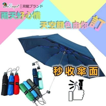 圖片 【雙龍牌】【雙龍牌】秒收傘面_文青風超潑水易開收纖維三折傘