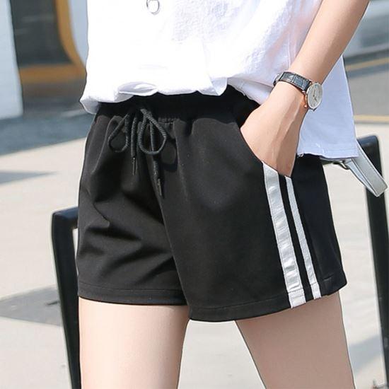 圖片 【charme】休閒寬鬆白線條黑短褲(M-4XL)
