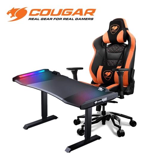 圖片 Cougar美洲獅 ARMOR TITAN PRO 泰坦帝王電競椅(黑橘) + MARS 戰神電競桌