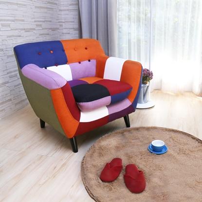 圖片 【H&D】Abel混色拼布設計款獨立筒單人沙發