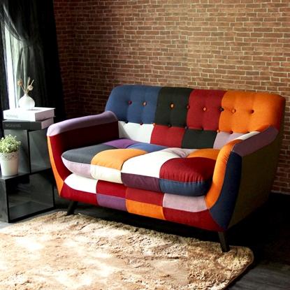 圖片 【H&D】Abel混色拼布亮彩獨立筒雙人布沙發