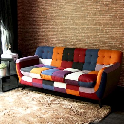 圖片 【H&D】Abel混色拼布亮彩獨立筒三人布沙發