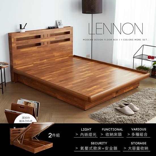 圖片 【H&D】藍儂田園鄉村風系列雙人房間掀床組2件式(床頭+掀床)