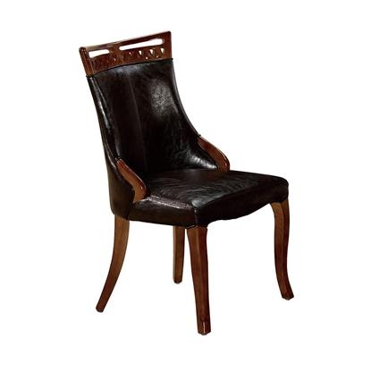 圖片 【H&D】百合咖啡皮實木餐椅