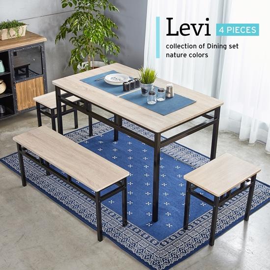 圖片 【H&D】LEVI李維工業風個性鐵架餐桌椅組-4件式