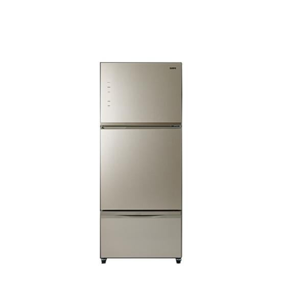 圖片 聲寶530公升三門變頻玻璃冰箱琉璃金SR-C53GDV(Y3)