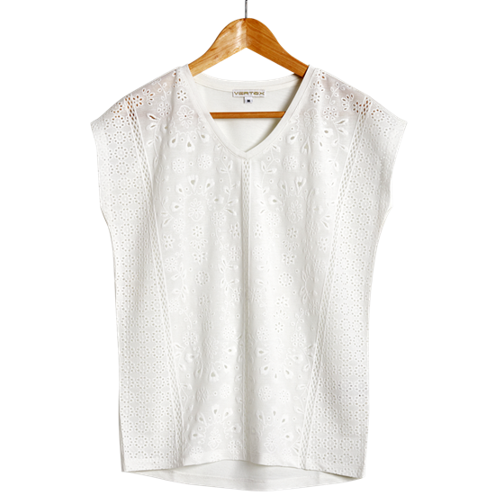 圖片 VERTEX 法國設計激光燒花蕾絲美型衣3件組(藍 、白、紅)-電