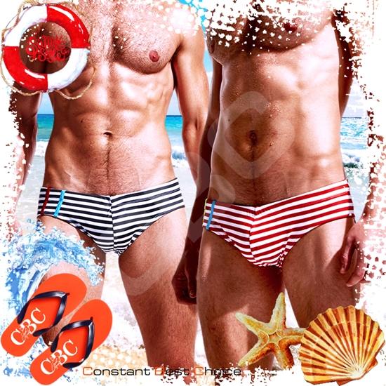圖片 EUSSIEINQ水手橫條紋三角男泳褲 激凸性感 猛男必備 SW0150