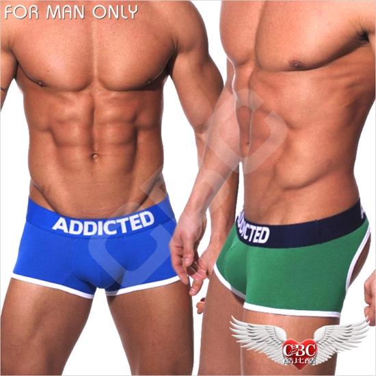 圖片 ADDICTED 寬帶超低腰動感純棉運動後空平角褲 激凸性感 型男狂潮  JS0005