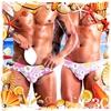 圖片 OBEACHSPORT  繽紛緬梔花護盃型窄版男三角泳褲 激凸性感 猛男必備 SW0185