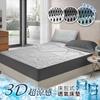 圖片 精靈工廠  新一代。3D超涼感床包式透氣床墊加大三件套床包組/三色任選(B0054-L)