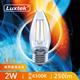 5入量販包【LUXTEK】2W  白光 E27 透明蠟燭燈 LED燈絲燈泡 取代 螺旋燈泡