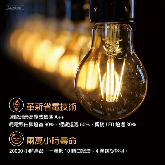 圖片 5入量販包【LUXTEK】可調光 6.5W  黃光 E27 金色球型 LED燈絲燈泡 取代 螺旋燈泡