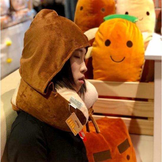 圖片 【nicopy】頸枕 法國麵包造型 旅行枕 遮眼罩 (U型枕) 含帽子 通勤必備